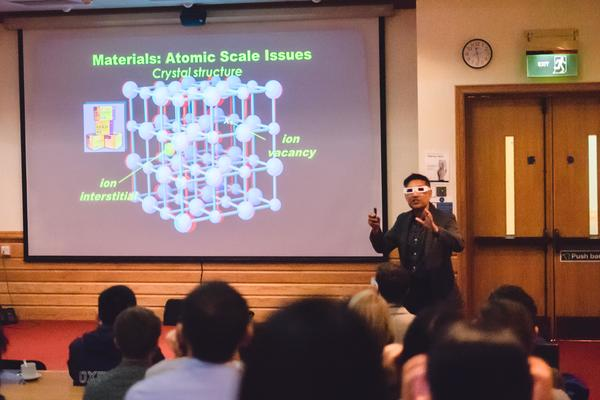 Keynote speaker Professor Saiful Islam using 3D glasses at 3rd Oxford ECS Student Chapter Symposium